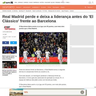 ArchiveBay.com - desporto.sapo.pt/futebol/la-liga/artigos/real-madrid-perde-e-deixa-a-lideranca-antes-do-el-classico-frente-ao-barcelona - Real Madrid perde e deixa a liderança antes do 'El Clássico' frente ao Barcelona - La Liga - SAPO Desporto