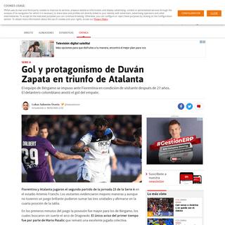Gol y protagonismo de Duván Zapata en triunfo de Atalanta - AS Colombia