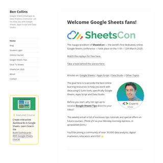 Welcome Google Sheets fans! - Ben Collins
