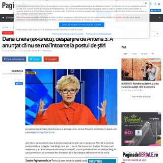 Dana Chera (ex-Grecu), despărțire de Antena 3. A anunțat că nu se mai întoarce la postul de știri