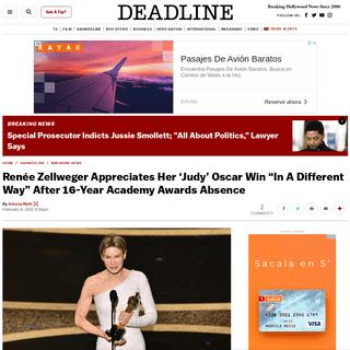 """Renée Zellweger Appreciates Her 'Judy' Oscar Win """"In A Different Way"""" – Deadline"""