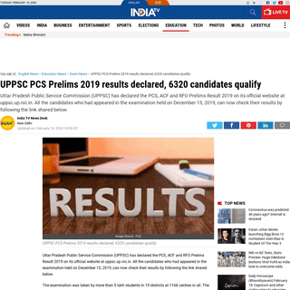 ArchiveBay.com - www.indiatvnews.com/education/exam-results-uppsc-pcs-prelims-2019-results-declared-on-uppcs-up-nic-in-6320-candidates-qualify-589980 - UPPSC PCS Prelims 2019 results declared, 6320 candidates qualify - Exam News – India TV