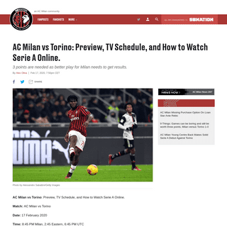 AC Milan vs Torino- Preview, TV Schedule, and How to Watch Serie A Online. - The AC Milan Offside
