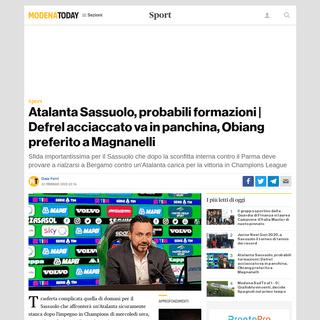 Probabili Formazioni Atalanta Sassuolo 23 febbraio 2020