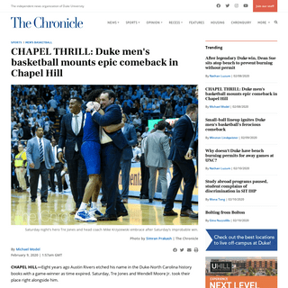 CHAPEL THRILL- Duke men's basketball mounts epic comeback in Chapel Hill - The Chronicle