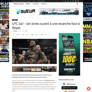 UFC 247 - Jon Jones ouvert à une revanche face à Dominick Reyes