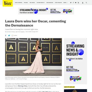 Oscars 2020- Laura Dern wins her Oscar, cementing the Dernaissance - Vox