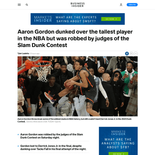 VIDEO- Aaron Gordon dunks over Tacko Fall in Dunk Contest final - Business Insider