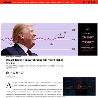 Donald Trump's approval rating hits record high in new poll - Salon.com