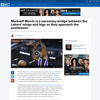 Markieff Morris is a necessary bridge between the Lakers' wings and bigs as they approach the postseason - CBSSports.com