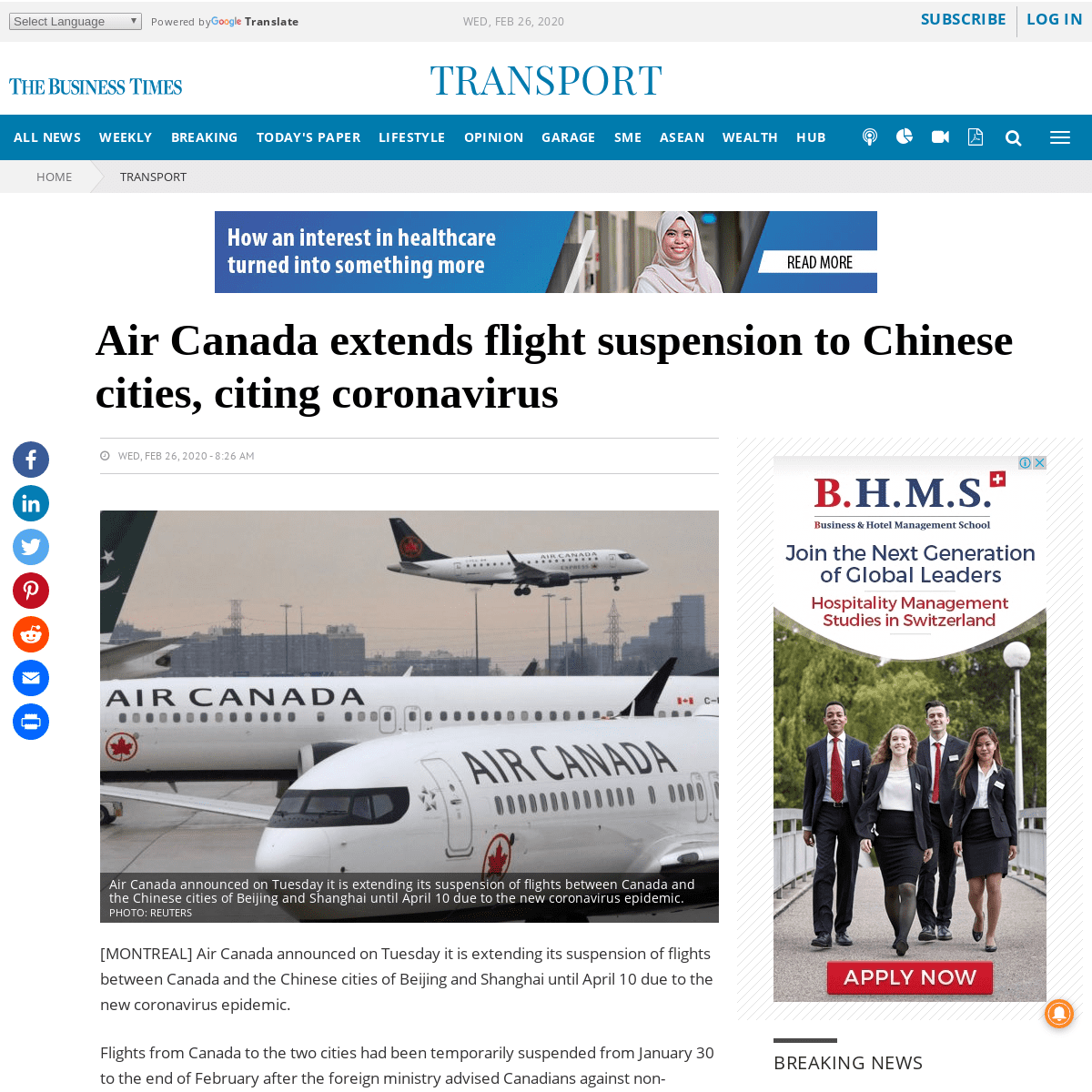 Air Canada extends flight suspension to Chinese cities, citing coronavirus, Transport - THE BUSINESS TIMES