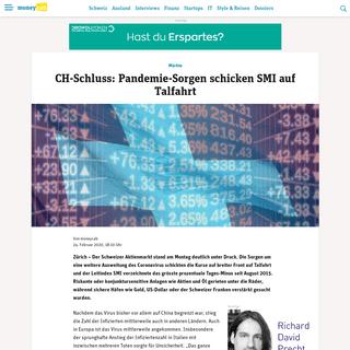CH-Schluss- Pandemie-Sorgen schicken SMI auf Talfahrt - Moneycab
