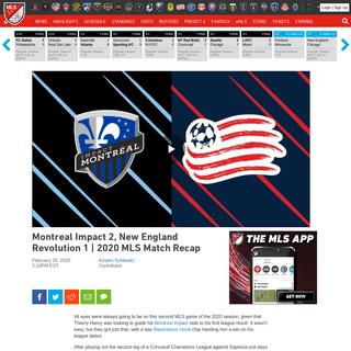 Montreal Impact 2, New England Revolution 1 - 2020 MLS Match Recap - MLSsoccer.com