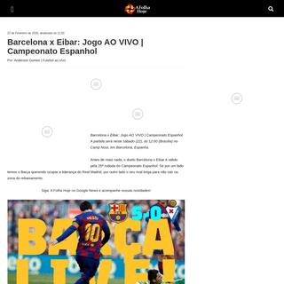 Barcelona x Eibar- Jogo AO VIVO - Campeonato Espanhol - A Folha Hoje – Notícias e informações com credibilidade