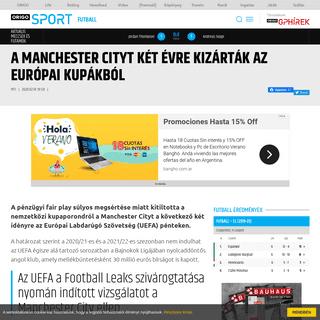 A Manchester Cityt két évre kizárták az európai kupákból