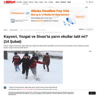 14 Şubat Kayseri, Yozgat ve Sivas'ta yarın okullar tatil mi- - Son Dakika