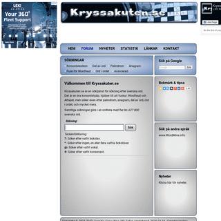 Kryssakuten.se -- Korsordshjälp - Korsordslexikon - Fusk för Wordfeud och Alfapet - Lathund för korsord