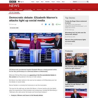 Democratic debate- Elizabeth Warren's attacks light up social media - BBC News