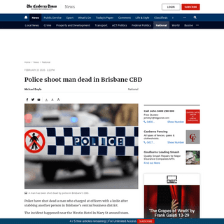 Police shoot man dead in Brisbane CBD - The Canberra Times - Canberra, ACT