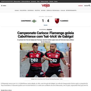Campeonato Carioca- Flamengo goleia Cabofriense com 'hat-trick' de Gabigol