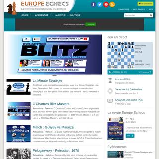 Jouer aux échecs en direct et en différé, leçons et vidéos en ligne - Europe Echecs