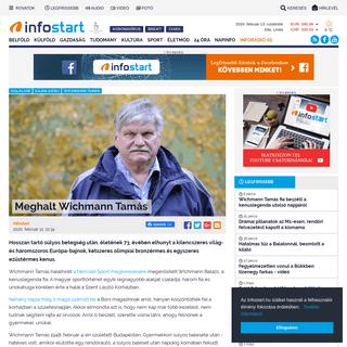 ArchiveBay.com - infostart.hu/sport/2020/02/12/meghalt-wichmann-tamas - Meghalt Wichmann Tamás - Infostart.hu