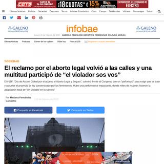 """El reclamo por el aborto legal volvió a las calles y una multitud participó de """"el violador sos vos"""" - Infobae"""