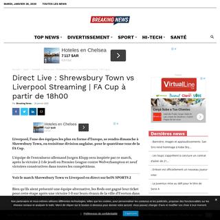 Direct Live - Shrewsbury Town vs Liverpool Streaming - FA Cup à partir de 18h00 -