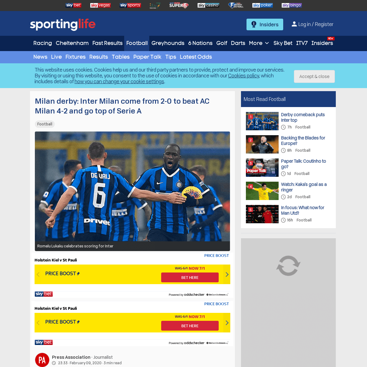 ArchiveBay.com - www.sportinglife.com/football/news/derby-comeback-puts-inter-top/177160 - Milan derby- Inter Milan come from 2-0 to beat AC Milan 4-2 and go top of Serie A