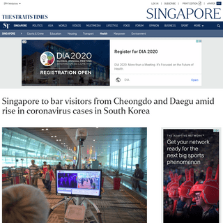 Singapore to bar visitors from Cheongdo and Daegu amid rise in coronavirus cases in South Korea, Health News & Top Stories - The