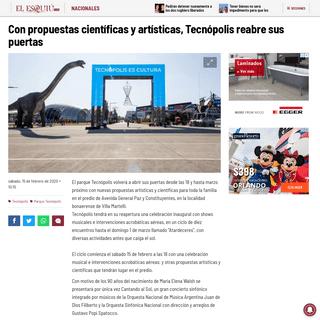 Con propuestas científicas y artísticas, Tecnópolis reabre sus puertas - El Esquiu