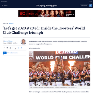 NRL World Club Challenge 2020- Inside Sydney Roosters' triumph over St Helens
