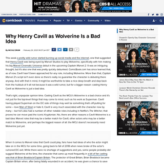 Why Henry Cavill as Wolverine Is a Bad Idea