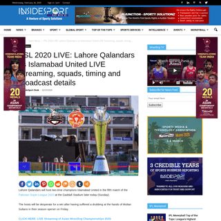 PSL 2020 LIVE- When and Where to watch Lahore Qalandars vs Islamabad United LIVE Streaming, squads, timing