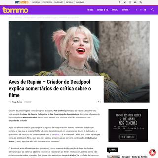 ArchiveBay.com - tommo.ricmais.com.br/noticia/aves-de-rapina-criador-de-deadpool-explica-comentarios-sobre-o-filme/ - Aves de Rapina - Criador de Deadpool explica comentários de crítica sobre o filme