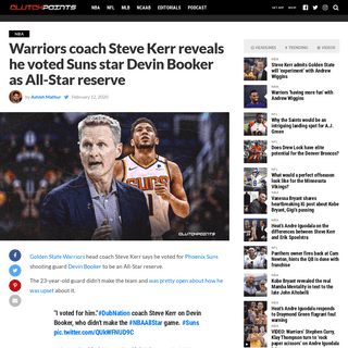 ArchiveBay.com - clutchpoints.com/suns-news-warriors-coach-steve-kerr-reveals-he-voted-devin-booker-all-star-reserve/ - Suns news- Warriors' Steve Kerr voted Devin Booker as All-Star reserve
