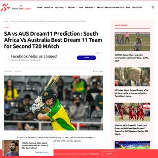 SA vs AUS Dream11 Prediction - South Africa Vs Australia Best Dream 11 Team for Second T20 MAtch - The SportsRush