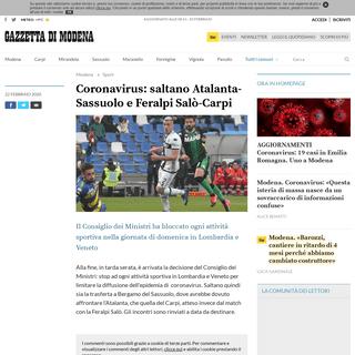 ArchiveBay.com - gazzettadimodena.gelocal.it/sport/2020/02/23/news/saltano-atalanta-sassuolo-e-feralpi-salo-carpi-1.38504080 - Coronavirus- saltano Atalanta-Sassuolo e Feralpi Salò-Carpi - Gazzetta di Modena Modena