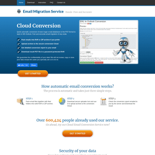 Email Migration Service - convert email files to PST format in a Cloud