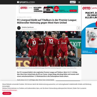 FC Liverpool bleibt auf Titelkurs in der Premier League- Mühevoller Heimsieg gegen West Ham United - Sportbuzzer.de