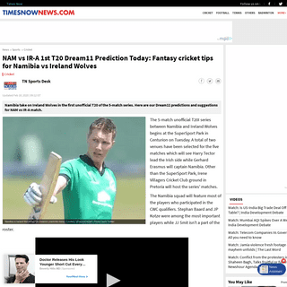 NAM vs IR-A 1st T20 Dream11 Prediction Today- Fantasy cricket tips for Namibia vs Ireland Wolves - Cricket News