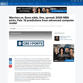 Warriors vs. Suns odds, line, spread- 2020 NBA picks, Feb. 12 predictions from advanced computer model - CBSSports.com
