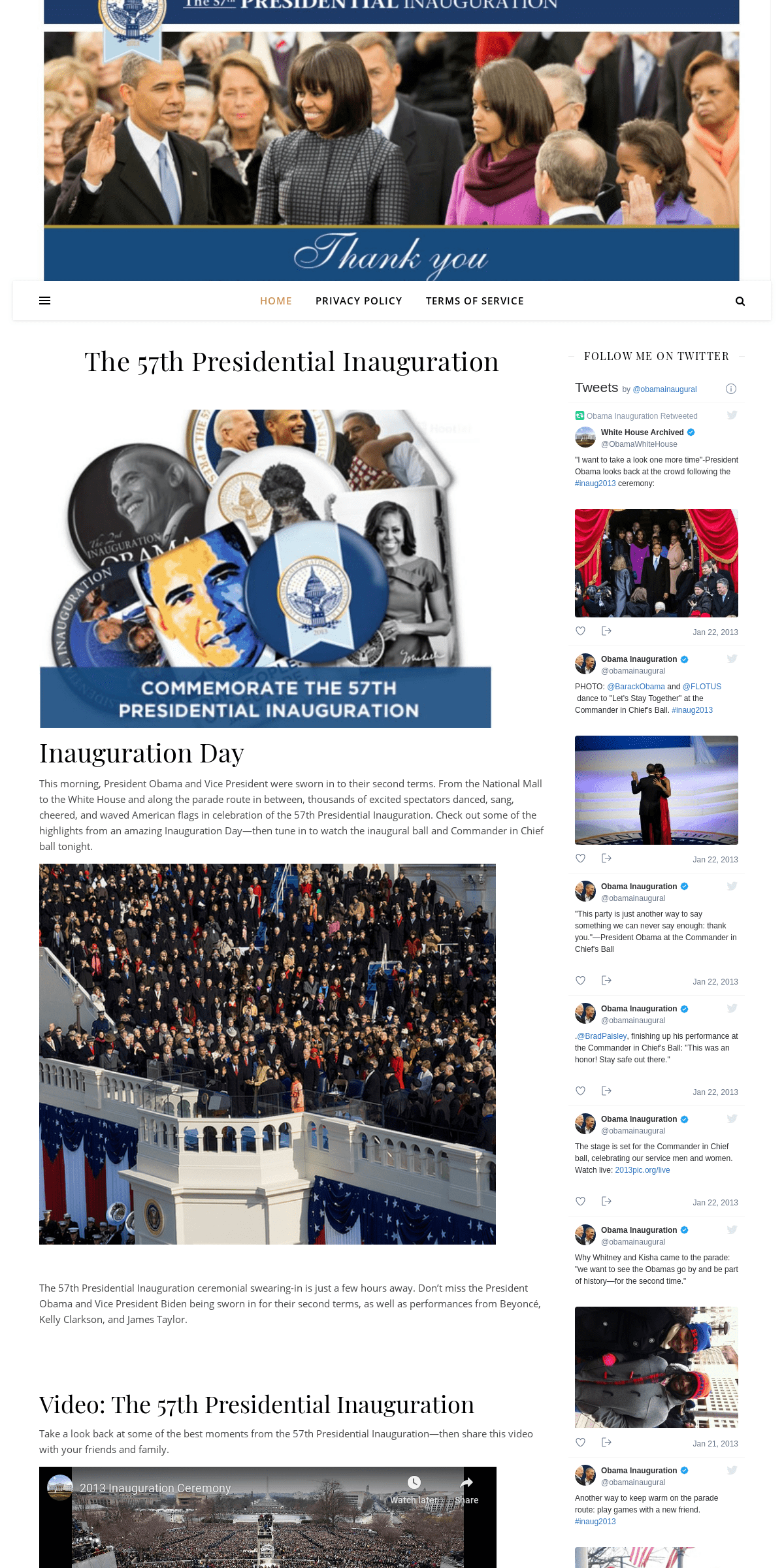 Presidential Inaugural Committee 2013 – The 57th Presidential Inauguration