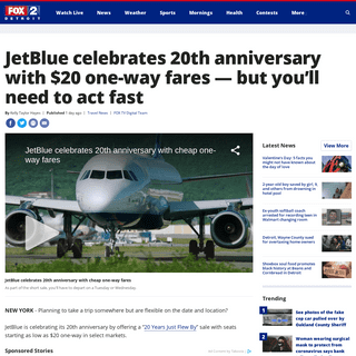 JetBlue celebrates 20th anniversary with $20 one-way fares — but you'll need to act fast - FOX 2 Detroit