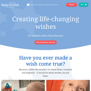 Children's charity, granting wishes to seriously ill children - Make A Wish