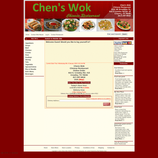 Chen's WokChinese Restaurant Crowley, TX 76036 Online Delivery! , Fast Food Delivery.