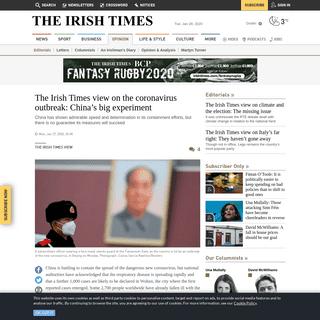 The Irish Times view on the coronavirus outbreak- China's big experiment