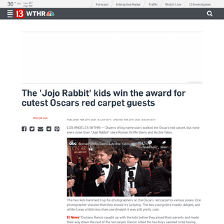 The 'Jojo Rabbit' kids win the award for cutest Oscars red carpet guests - Entertainment News - 13 WTHR Indianapolis