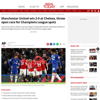 ArchiveBay.com - www.indiatoday.in/sports/football/story/chelsea-0-2-manchester-united-premier-league-monday-champions-league-spots-race-1647467-2020-02-18 - Manchester United win 2-0 at Chelsea, throw open race for Champions League spots - Sports News