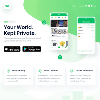 Haven - Your World. Kept Private. - The most private mobile eCommerce application.